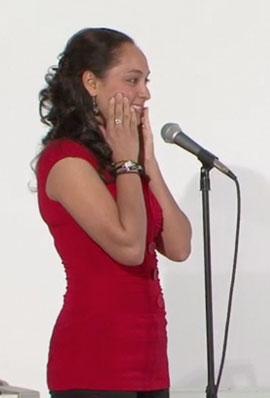 Women practicing a singing tip