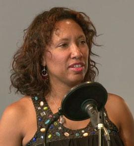 Women singing in studio improving her voice